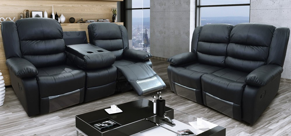 Roma Black Recliners Leather Sofa Set 3 + 2 Seater Bonded Leather