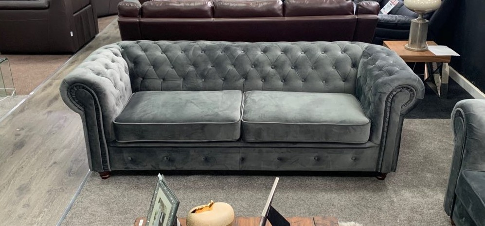 Chesterfield Infinity - Grey Plush Velvet 3 + 2 Seater Sofa Set