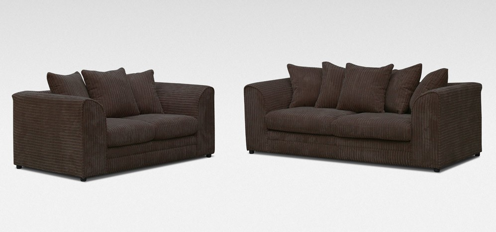 Amazing Dylan Fabric Sofa Set 3 2 Seater Chocolate Jumbo Cord Camellatalisay Diy Chair Ideas Camellatalisaycom