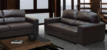 Naples Leather Sofa 2 Seater Brown