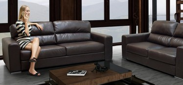 Naples Leather Sofa 3 Seater Brown