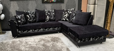 Michigan Fabric Corner Sofa RHF Black And Silver Scatter Back With Convertible Footstool Chaise And Chrome Legs 46752