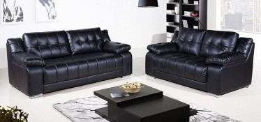 Roco Leather Sofa Set 3 + 2 Seater Black, Delivery in 4 weeks