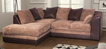 Dylan Fabric Corner Sofa LHF Brown And Coffee Portobello Cord