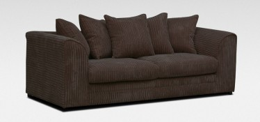 Dylan Fabric Sofa 3 Seater Chocolate Jumbo Cord