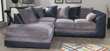 Dylan Fabric Corner Sofa LHF Black And Grey Portobello Cord