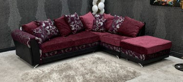 Michigan Fabric Corner Sofa RHF Pruple Scatter Back With Convertible Footstool Chaise And Chrome Legs 46757