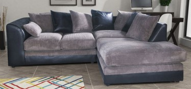 Dylan Fabric Corner Sofa RHF Black And Grey Portobello Cord
