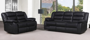 Roman Black Recliners Leather Sofa Set 3 + 2 Seater Bonded Leather