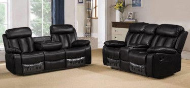 Somerton Recliner Leathaire Sofa Set 3 + 2 Seater Black, 21 Day Delivery