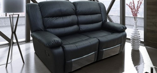 Romi Black Recliner Leather Sofa 2 Seater Bonded Leather - 5-7 Day Delivery
