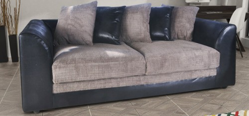 Dylan 3 Seater Black And Grey Portobello Cord