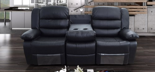 Roma Recliner 3 Seater Bonded Leather Black