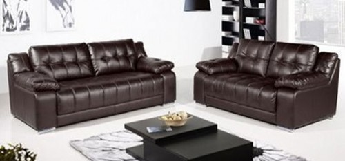 Coco Leather Sofa Set 3 + 2 Seater Brown, Delivery in 4 weeks