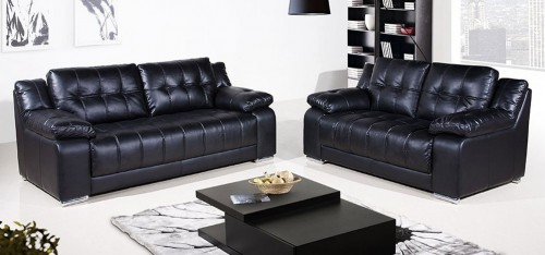 Coco Leather Sofa Set 3 + 2 Seater Black, Delivery in 4 weeks