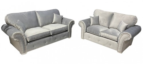 Oakland 3+2 Silver Plush Velvet Fabric Sofa Set With Subtle Button Detailing And Chrome Legs