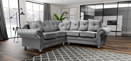 Knightsbridge Large Fabric Corner Sofa Grey 2C2