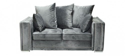 Olympia Fabric Sofa Set 3 + 2 Seater Grey With Studded Arms And Scatter Cushions