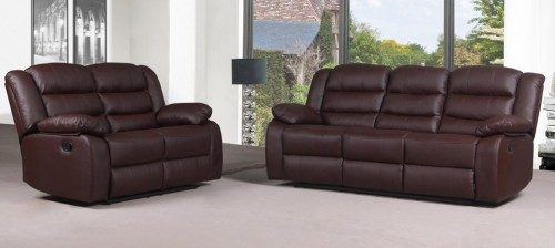 Roman Brown Recliner Leather Sofa Set 3 + 2 Seater Bonded Leather