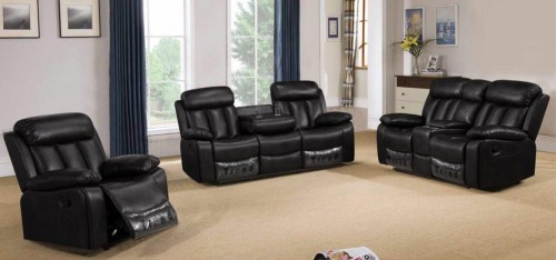 Somerton Recliner Leathaire Sofa Set 3 + 2 + 1 Seater Black, 21 Day Delivery