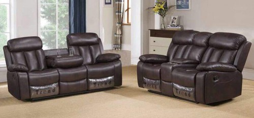Somerton Recliner Leathaire Sofa Set 3 + 2 Seater Brown