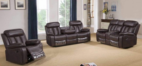 Somerton Recliner Leathaire Sofa Set 3 + 2 + 1 Seater Brown, 21 Day Delivery