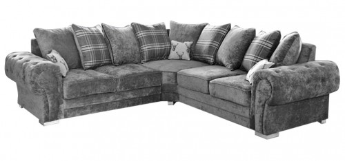 Verona Large Fabric Corner Sofa 2C2 Grey