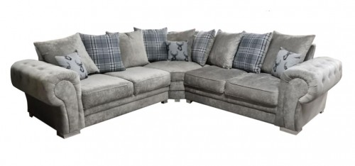 Verona Large Fabric Corner Sofa 2C2 Mink