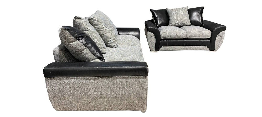Lawson 3+2 Black And Grey Polyester Fabric Sofa Set With Snake Outline With Chrome Legs