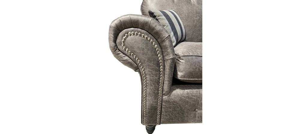 Oakland 3+2 Buffalo Grey Buffalo Faux Leather With Subtle Button Detailing And Chrome Legs