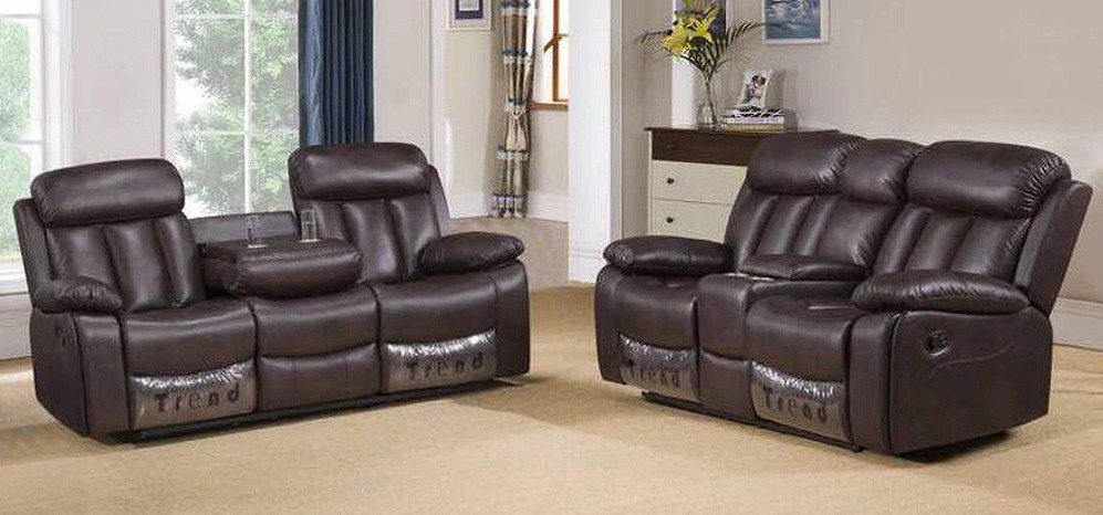 Somerton Recliner Leathaire Sofa Set 3 + 2 Seater Brown, 21 Day Delivery