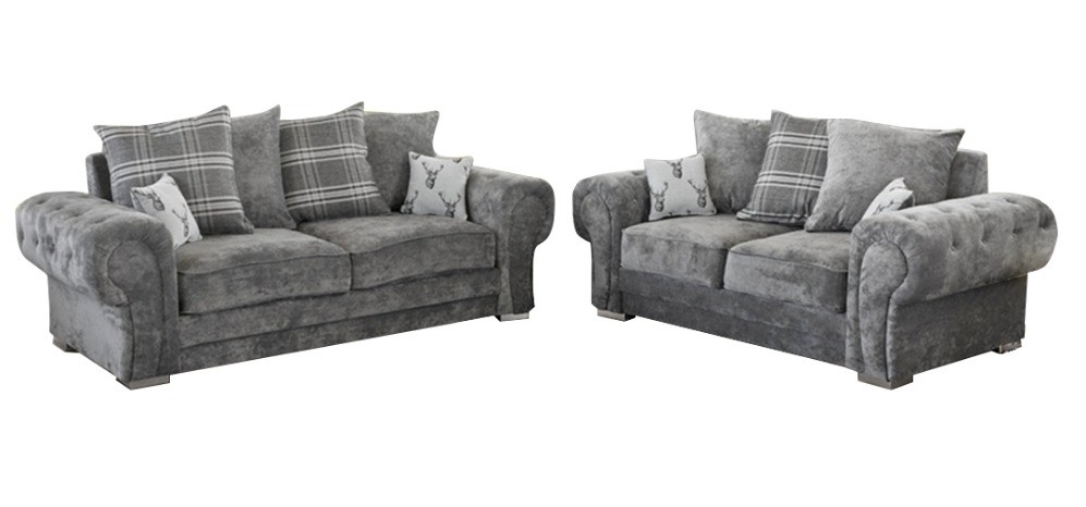 Verona Fabric Sofa Set 3 + 2 Seater Grey